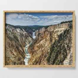 Grand Canyon of Yellowstone River and Lower Falls from Artist Point Serving Tray