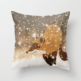 Sneaky smart fox in snowy forest winter snowflakes drawing Throw Pillow