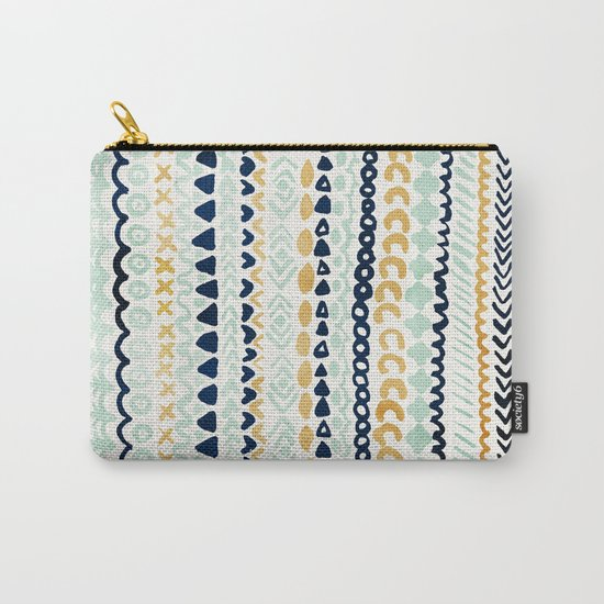 Navy, Teal & Mustard Tribal Carry-All Pouch