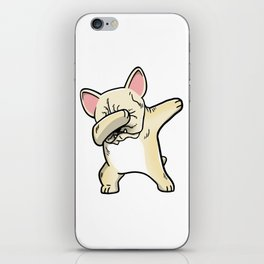 Funny Cream French Bulldog Dabbing iPhone Skin