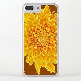 Coffee Brown Color Golden Yellow Chrysanthemums Clear iPhone Case