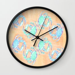 Crab orange blue nautical Wall Clock