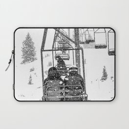 Snow Lift // Ski Chair Lift Colorado Mountains Black and White Snowboarding Vibes Photography Laptop Sleeve