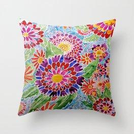 Flower Batik Watercolor Throw Pillow