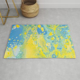 Fluid Art Acrylic Painting, Pour 36, Yellow, Green & Blue Blended Color Rug