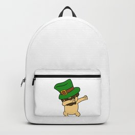 Dabbing St Patrick_s Day Pug Dog Leprechaun Backpack