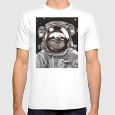 Astronaut Sloth Selfie X-LARGE White Mens Fitted Tee
