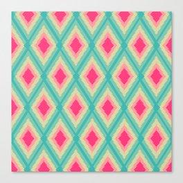 Geometric Ikat Pink Red Green Tribal Girly Pattern Canvas Print