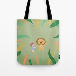 Girl and the lion Tote Bag