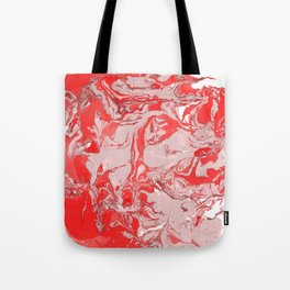 Red and white Marble texture acrylic Liquid paint art Tote Bag