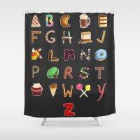 dessert Shower Curtains featuring Dessert Alphabet  by Shana Marie