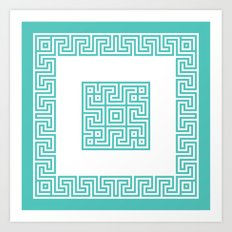 Greek Key turquoise Art Print