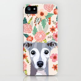 Italian Greyhound floral pet portrait wall art and gifts for dog breed lovers iPhone Case