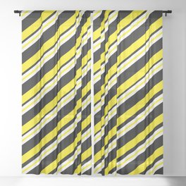 TEAM COLORS 1...double yellow,black and white. Sheer Curtain