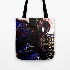 Spiderman in London Close up Tote Bag