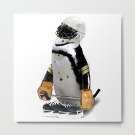 Little Mascot Hockey Player Penguin Metal Print