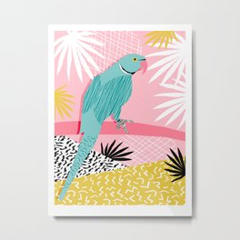 Doin' It - blue india ringneck parrot bird art wacka design animal nature retro throwback neon 1980s Metal Print