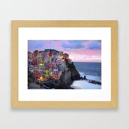 Cinque Terre Sunset, Manarola Italy, Italian Village so0001 Framed Art Print