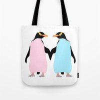 penguins Tote Bags featuring Penguins by mailboxdisco