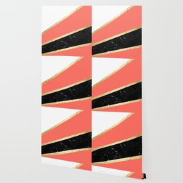 Living Coral, White, Black Marble and Gold Stripes Glam #1 #minimal #decor #art #society6 Wallpaper