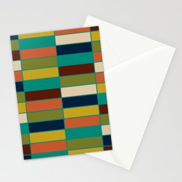 Mid Mod Blocks - Mid-century Modern Geometric Pattern in Mustard, Olive, Teal, and Orange Stationery Cards