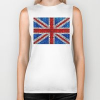 british flag Biker Tanks featuring British Flag - Brittain England Stone Rock'd Art by Sharon Cummings
