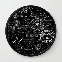 White Vintage Handwriting on Black Wall Clock