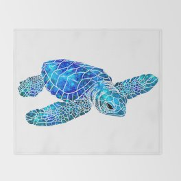 Sea Turtle Watercolor Art Throw Blanket