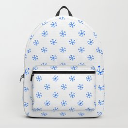 Brandeis Blue on White Snowflakes Backpack