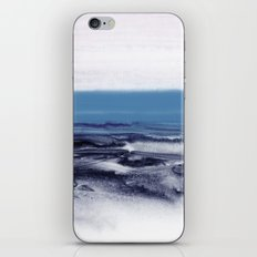 watercolor landscape - blue iPhone Skin