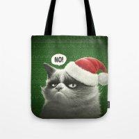 grumpy Tote Bags featuring Grumpy Xmas by Dr. Lukas Brezak