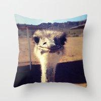 ostrich Throw Pillows featuring OSTRICH by Kaitlin Bloom