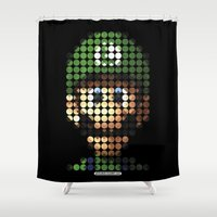 luigi Shower Curtains featuring Pictodotz - Luigi by dudsbessa