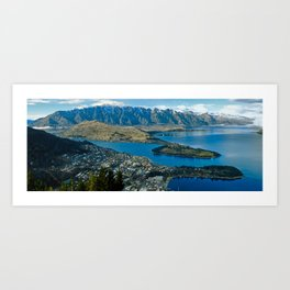 Queenstown - Lake Wakatipu Panorama, South Island, New Zealand Art Print