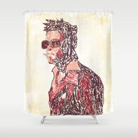 tyler spangler Shower Curtains featuring Tyler by Fimbis