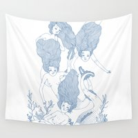 mermaids Wall Tapestries featuring Mermaids by Veils and Mirrors