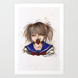 Strawberry Schoolgirl Art Print