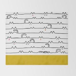 yellow meouw Throw Blanket