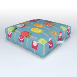Fruit popsicles - blue version Outdoor Floor Cushion