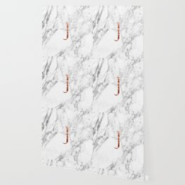 Monogram rose gold marble J Wallpaper