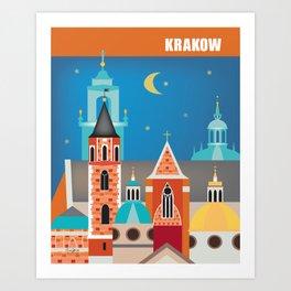 Krakow, Poland - Skyline Illustration by Loose Petals Art Print
