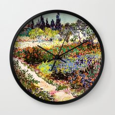 Vincent Van Gogh Flowering Garden Wall Clock