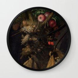 Four Seasons in One Head - Giuseppe Arcimboldo, 1590 Wall Clock