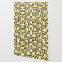 Gray, Yellow, Blue & White Floral Pattern With Roses & Ferns Wallpaper