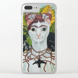 Frida the cat: Self-Portrait with Thorn Necklace and Hummingbird Clear iPhone Case