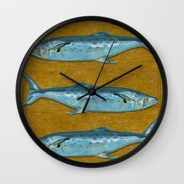 Mackerel on Cutting Board Wall Clock