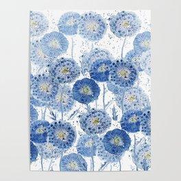 blue indigo dandelion pattern watercolor Poster