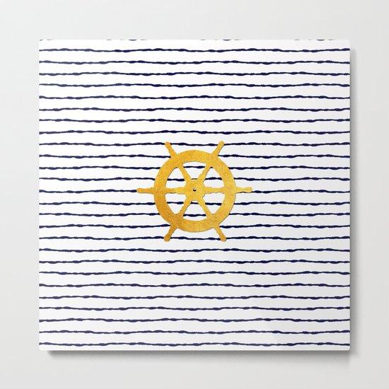 Marine pattern- Navy blue white striped with golden wheel Metal Print
