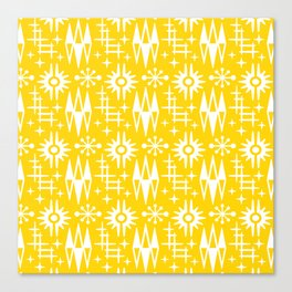 Mid Century Modern Atomic Space Age Pattern Yellow Canvas Print