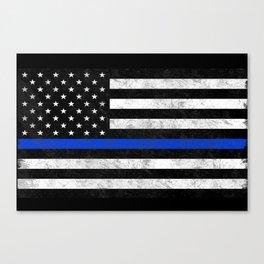 Thin Blue Line Flag 2 Canvas Print
